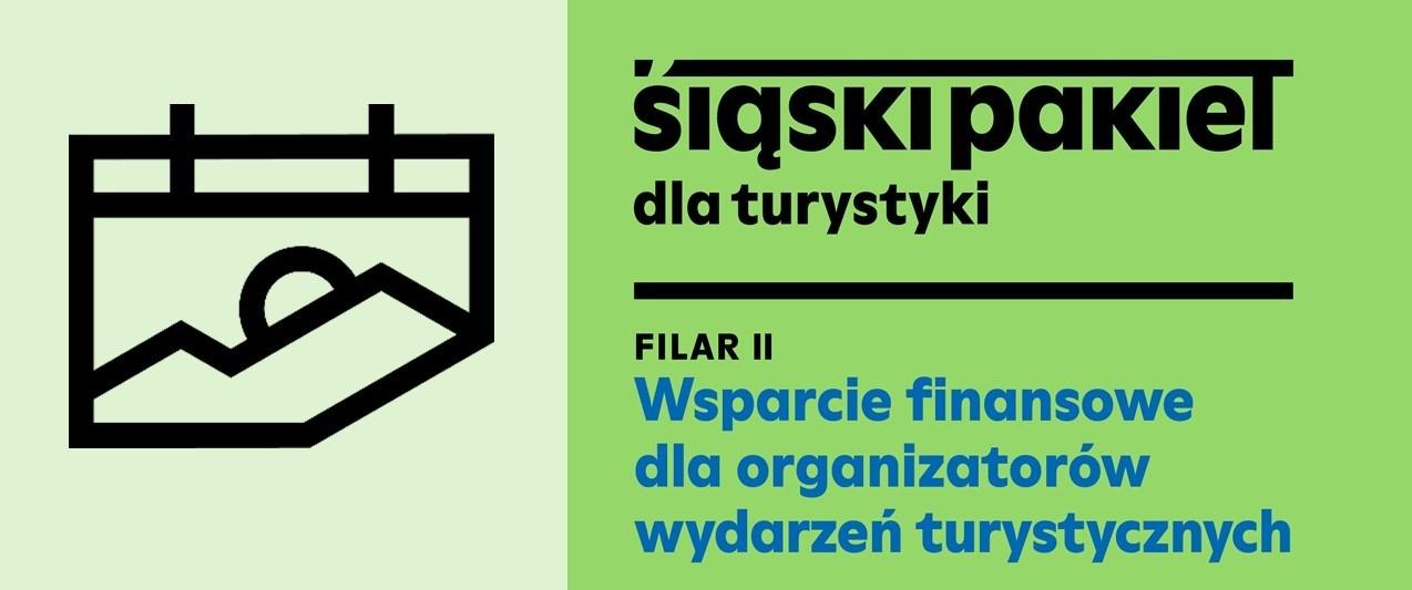 logo Filaru II Wsparcie finansowe dla organizatorów wydarzeń turystycznych. Po lewej stronie grafika symbolizująca krajobraz