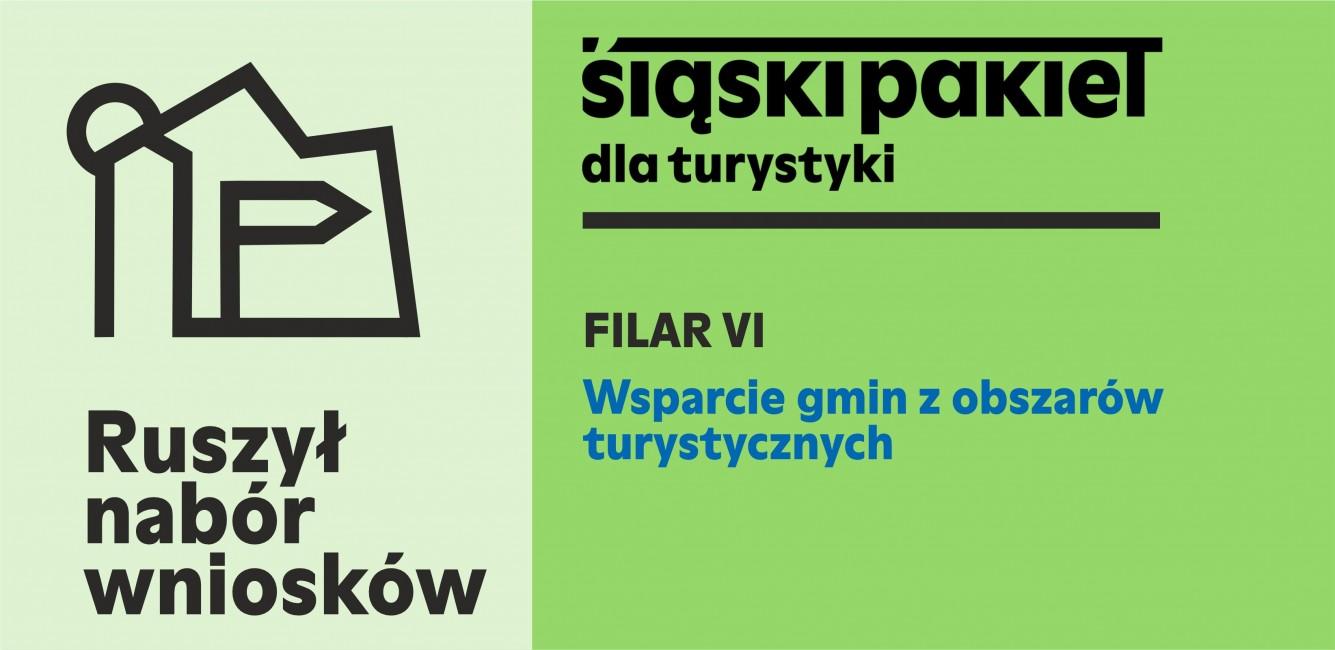 Grafika przedstawi Śląski Pakiet dla gospodarki z tekstem Ruszył nabór wniosków. Wsparcie gmin z obszarów turystycznych