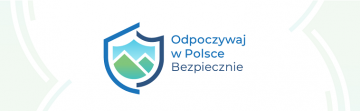 Logo Odpoczywaj w Polsce bezpiecznie. Symbol tarczy na której widnieje krajobraz gór