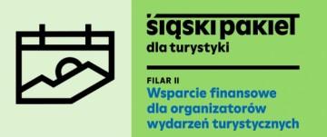 Grafika zachodu słońca w górach, Logo  Śląski pakiet dla turystyki filar 2 . Wsparcie finansowe dla organizatorów wydarzeń turystycznych.