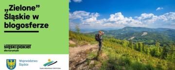 """Po lewej napis """"Zielone"""" Śląskie w blogosferze. Po prawej zdjęcie kobiety oglądającej krajobraz górski"""