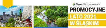 Baner z logo Śląskie. Pozytywna energia. Promocyjne lato 2021 w Śląskim
